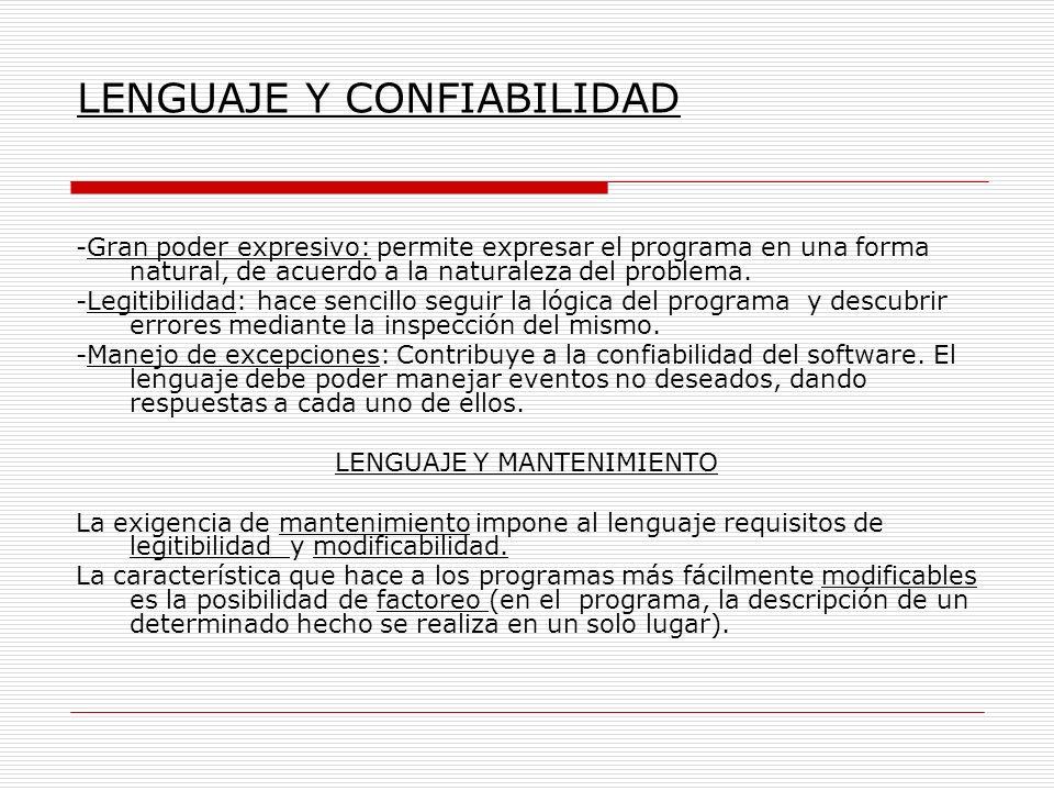 LENGUAJE Y CONFIABILIDAD -Gran poder expresivo: permite expresar el programa en una forma natural, de acuerdo a la naturaleza del problema. -Legitibil