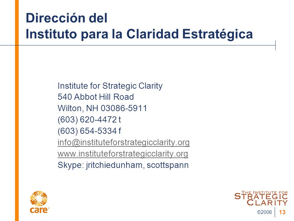 ©2006 13 Dirección del Instituto para la Claridad Estratégica Institute for Strategic Clarity 540 Abbot Hill Road Wilton, NH 03086-5911 (603) 620-4472