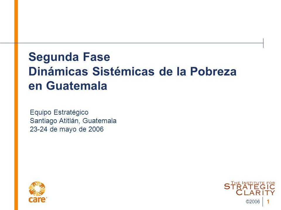 ©2006 1 Segunda Fase Dinámicas Sistémicas de la Pobreza en Guatemala Equipo Estratégico Santiago Atitlán, Guatemala 23-24 de mayo de 2006