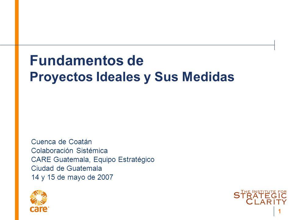 1 Fundamentos de Proyectos Ideales y Sus Medidas Cuenca de Coatán Colaboración Sistémica CARE Guatemala, Equipo Estratégico Ciudad de Guatemala 14 y 15 de mayo de 2007