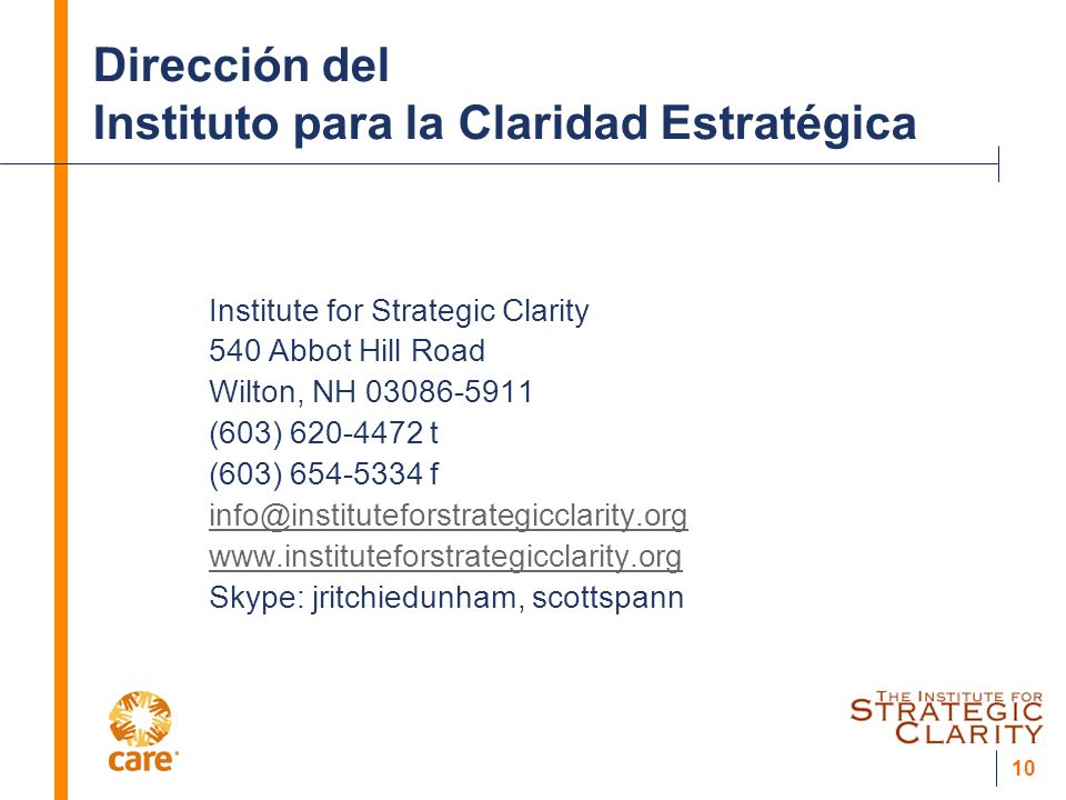 10 Dirección del Instituto para la Claridad Estratégica Institute for Strategic Clarity 540 Abbot Hill Road Wilton, NH 03086-5911 (603) 620-4472 t (60