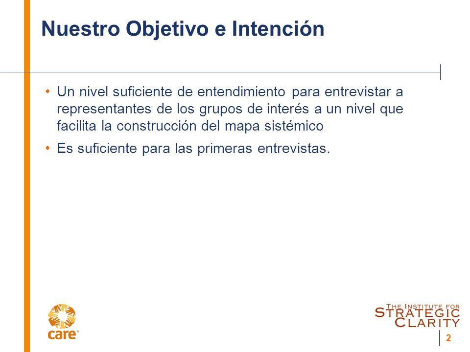 2 Nuestro Objetivo e Intención Un nivel suficiente de entendimiento para entrevistar a representantes de los grupos de interés a un nivel que facilita la construcción del mapa sistémico Es suficiente para las primeras entrevistas.
