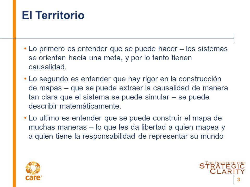 3 El Territorio Lo primero es entender que se puede hacer – los sistemas se orientan hacia una meta, y por lo tanto tienen causalidad.