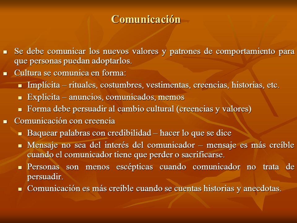 Comunicación Se debe comunicar los nuevos valores y patrones de comportamiento para que personas puedan adoptarlos. Se debe comunicar los nuevos valor