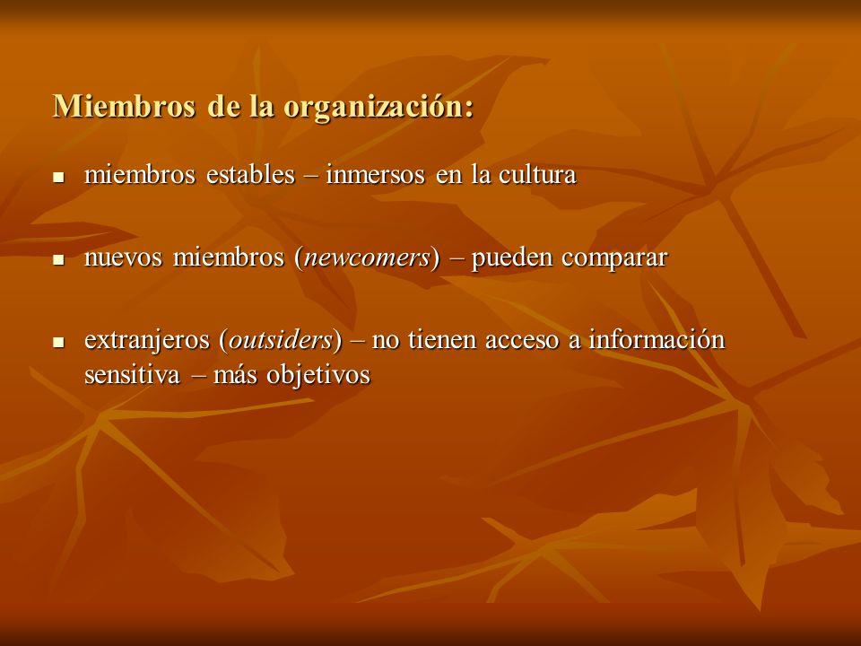 Miembros de la organización: miembros estables – inmersos en la cultura miembros estables – inmersos en la cultura nuevos miembros (newcomers) – puede