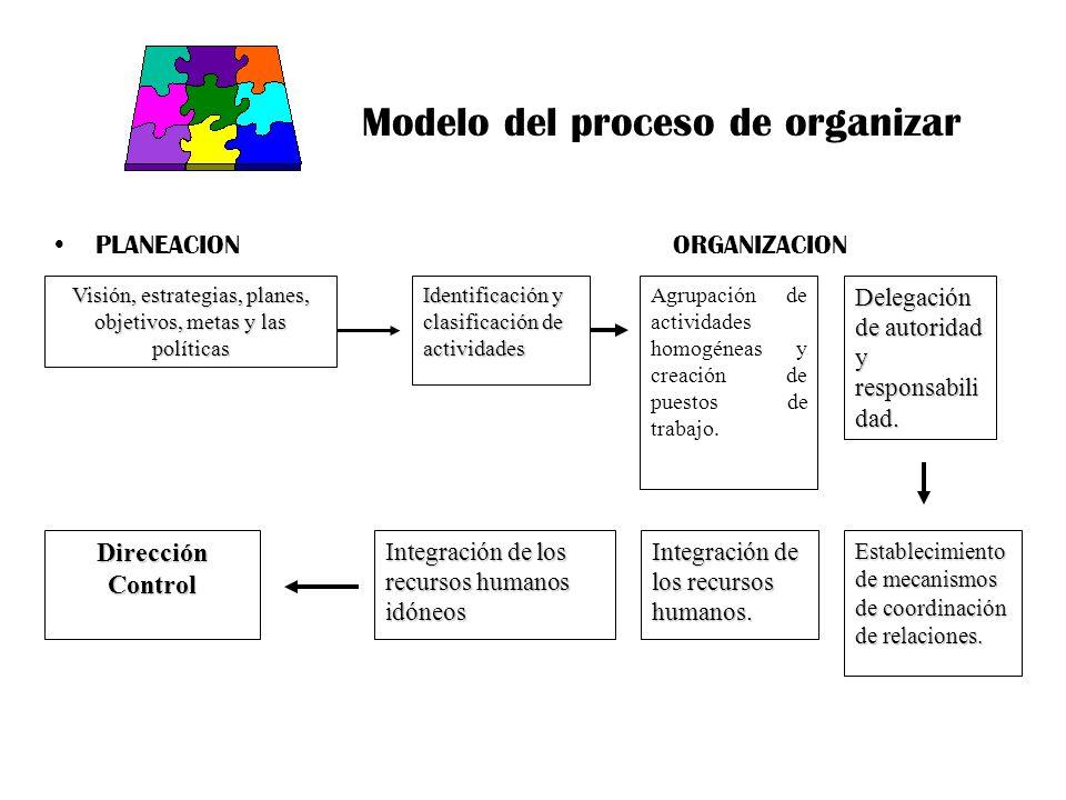 Modelo del proceso de organizar PLANEACION ORGANIZACION Agrupación de actividades homogéneas y creación de puestos de trabajo. Visión, estrategias, pl