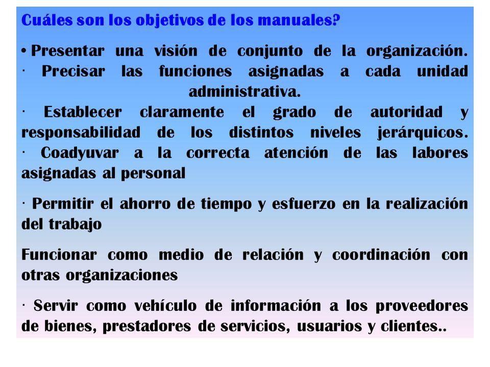 Cuáles son los objetivos de los manuales? Presentar una visión de conjunto de la organización. · Precisar las funciones asignadas a cada unidad admini