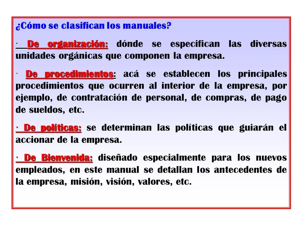 ¿Cómo se clasifican los manuales? · De organización: · De organización: dónde se especifican las diversas unidades orgánicas que componen la empresa.