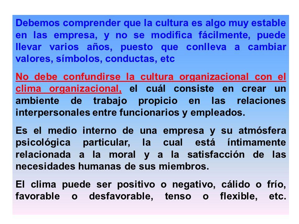Debemos comprender que la cultura es algo muy estable en las empresa, y no se modifica fácilmente, puede llevar varios años, puesto que conlleva a cam