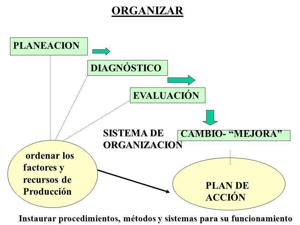ORGANIZAR PLANEACION DIAGNÓSTICO EVALUACIÓN CAMBIO- MEJORA ordenar los factores y recursos de Producción PLAN DE ACCIÓN SISTEMA DE ORGANIZACION Instau