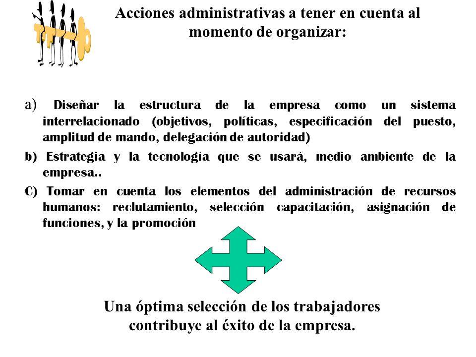 a) Diseñar la estructura de la empresa como un sistema interrelacionado (objetivos, políticas, especificación del puesto, amplitud de mando, delegació