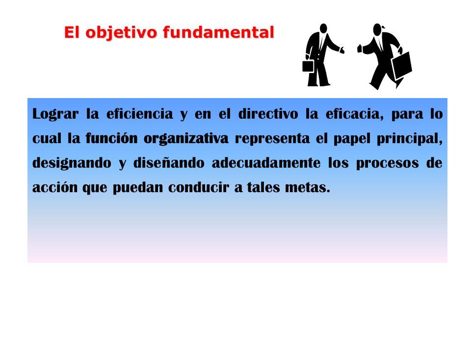 Lograr la eficiencia y en el directivo la eficacia, para lo cual la función organizativa representa el papel principal, designando y diseñando adecuad