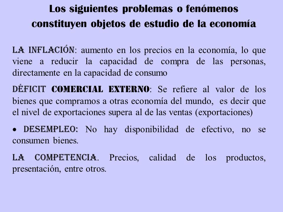 Los siguientes problemas o fenómenos constituyen objetos de estudio de la economía La Inflación : aumento en los precios en la economía, lo que viene