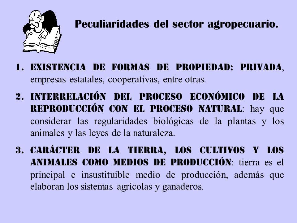 Peculiaridades del sector agropecuario. 1.Existencia de formas de propiedad: privada, empresas estatales, cooperativas, entre otras. 2.Interrelación d