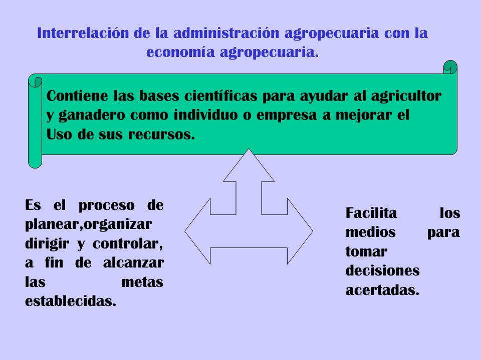 Interrelación de la administración agropecuaria con la economía agropecuaria. Contiene las bases científicas para ayudar al agricultor y ganadero como