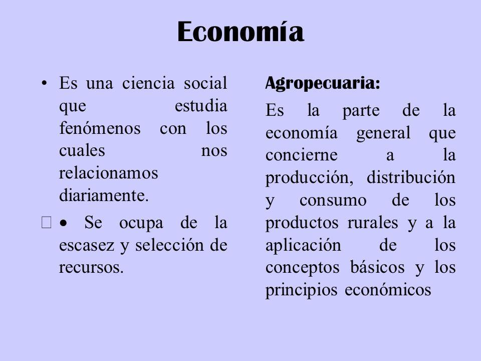 Economía Es una ciencia social que estudia fenómenos con los cuales nos relacionamos diariamente. Se ocupa de la escasez y selección de recursos. Agro