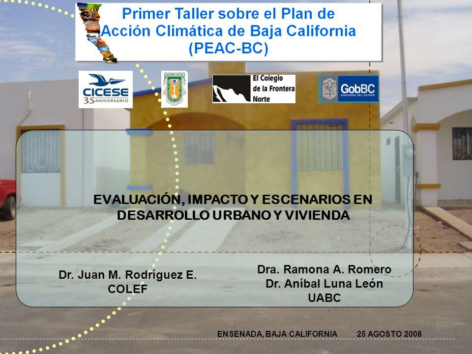 OBJETIVO GENERAL Determinar el comportamiento térmico de viviendas- tipo de las principales ciudades del estado de Baja California y el impacto en el confort térmico de sus habitantes, con el fin de establecer estrategias de mitigación al cambio climático con escenarios para las décadas de 2020, 2050 y 2080.