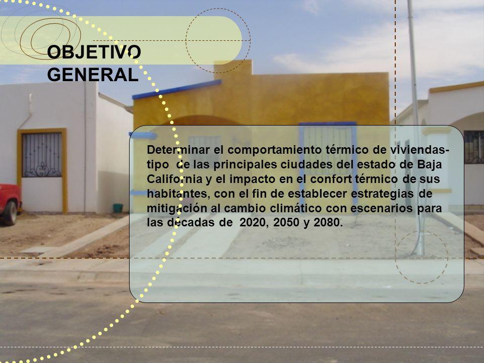 OBJETIVO GENERAL Determinar el comportamiento térmico de viviendas- tipo de las principales ciudades del estado de Baja California y el impacto en el