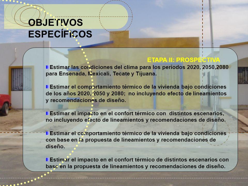 OBJETIVOS ESPECÍFICOS ETAPA II: PROSPECTIVA Estimar las condiciones del clima para los períodos 2020, 2050,2080 para Ensenada, Mexicali, Tecate y Tiju