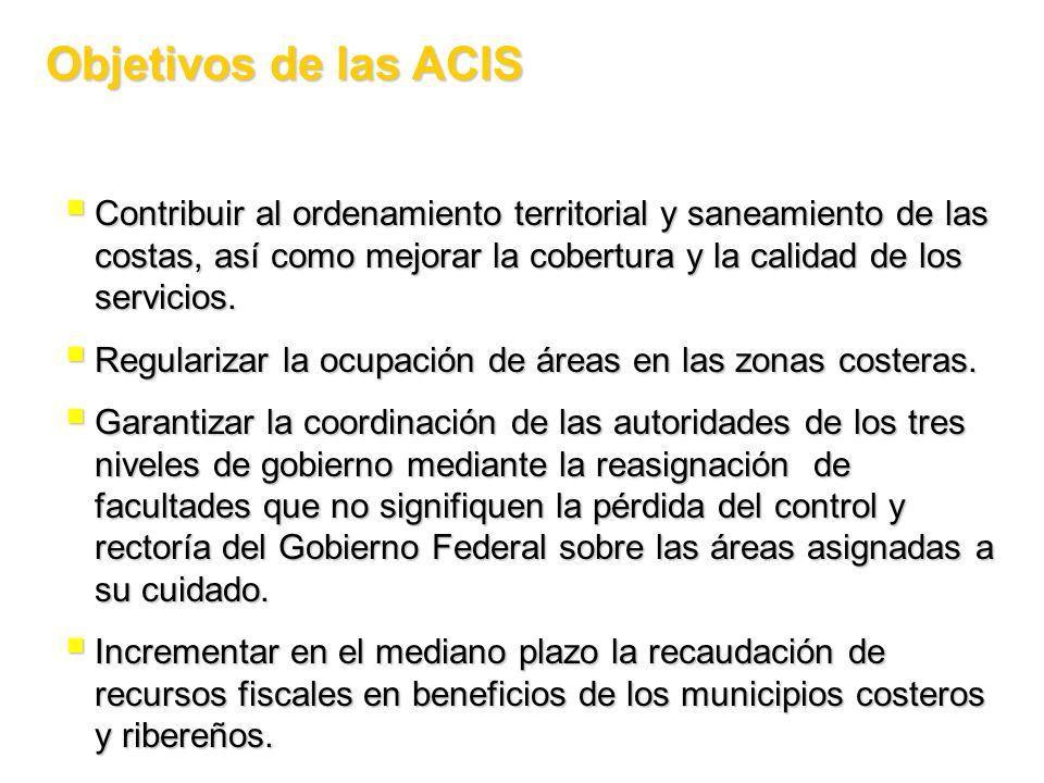 Objetivos de las ACIS Contribuir al ordenamiento territorial y saneamiento de las costas, así como mejorar la cobertura y la calidad de los servicios.