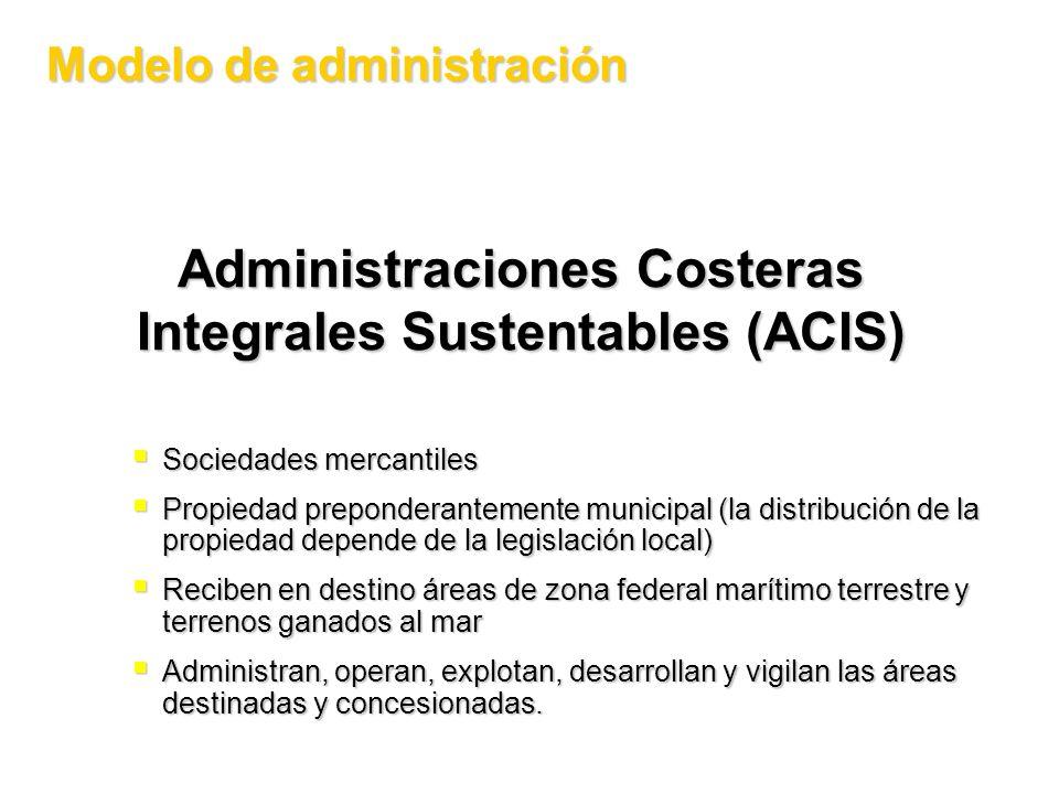 Administraciones Costeras Integrales Sustentables (ACIS) Modelo de administración Sociedades mercantiles Sociedades mercantiles Propiedad preponderant