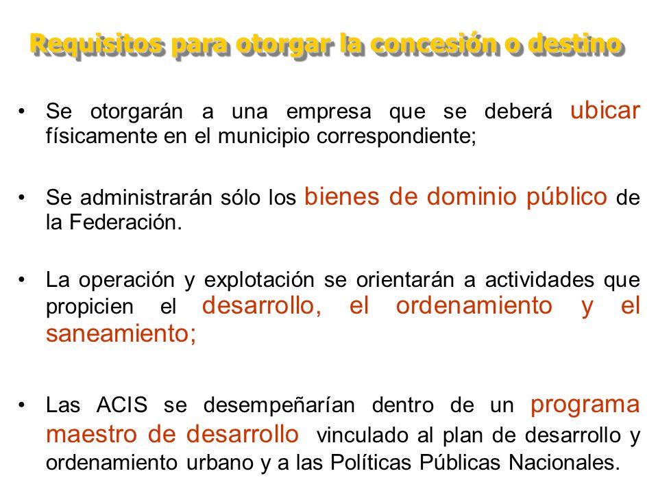 Se otorgarán a una empresa que se deberá ubicar físicamente en el municipio correspondiente; Se administrarán sólo los bienes de dominio público de la