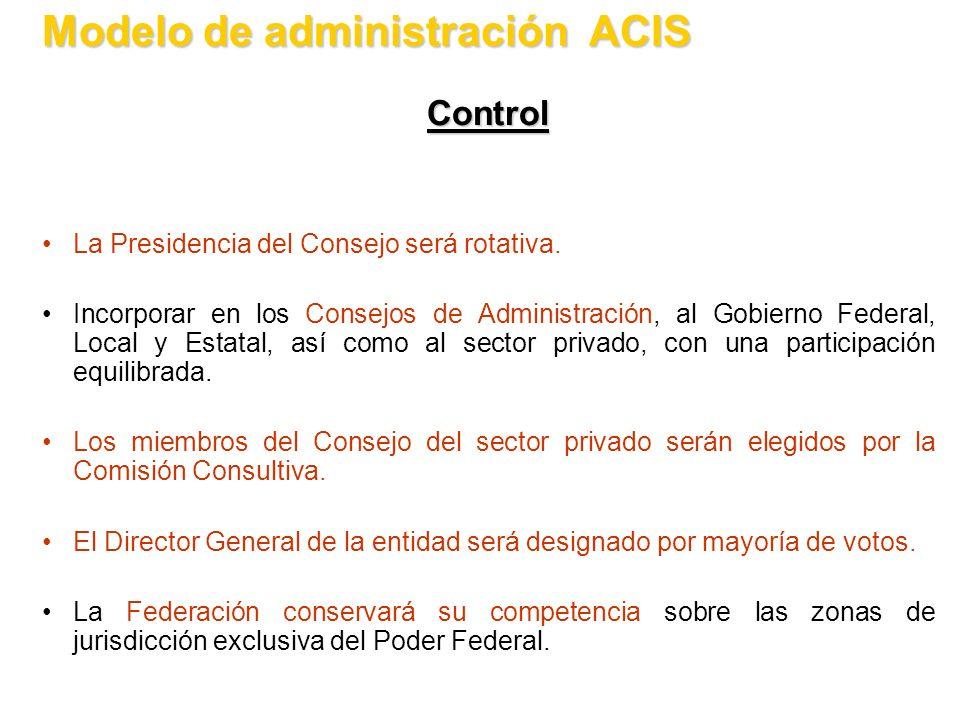 Control La Presidencia del Consejo será rotativa. Incorporar en los Consejos de Administración, al Gobierno Federal, Local y Estatal, así como al sect