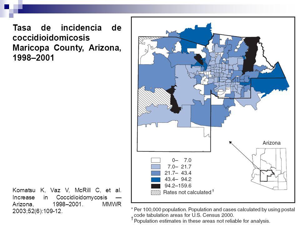 Komatsu K, Vaz V, McRill C, et al. Increase in Coccidioidomycosis Arizona, 1998–2001. MMWR 2003;52(6):109-12. Tasa de incidencia de coccidioidomicosis