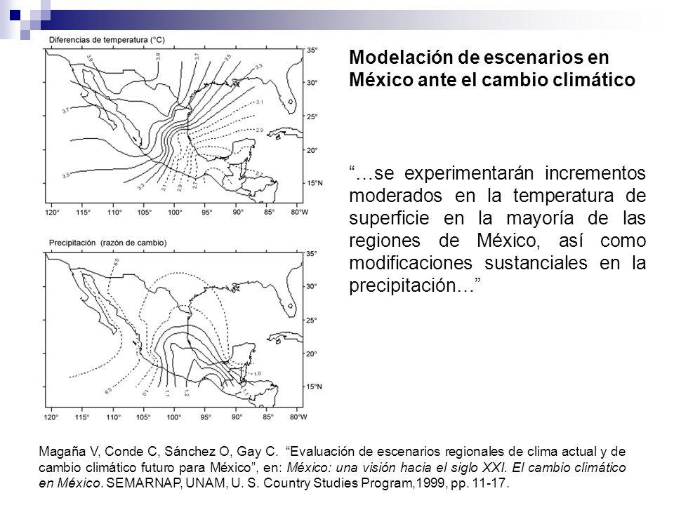 Magaña V, Conde C, Sánchez O, Gay C. Evaluación de escenarios regionales de clima actual y de cambio climático futuro para México, en: México: una vis