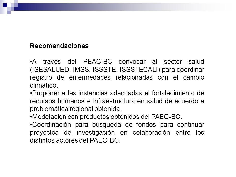 Recomendaciones A través del PEAC-BC convocar al sector salud (ISESALUED, IMSS, ISSSTE, ISSSTECALI) para coordinar registro de enfermedades relacionad