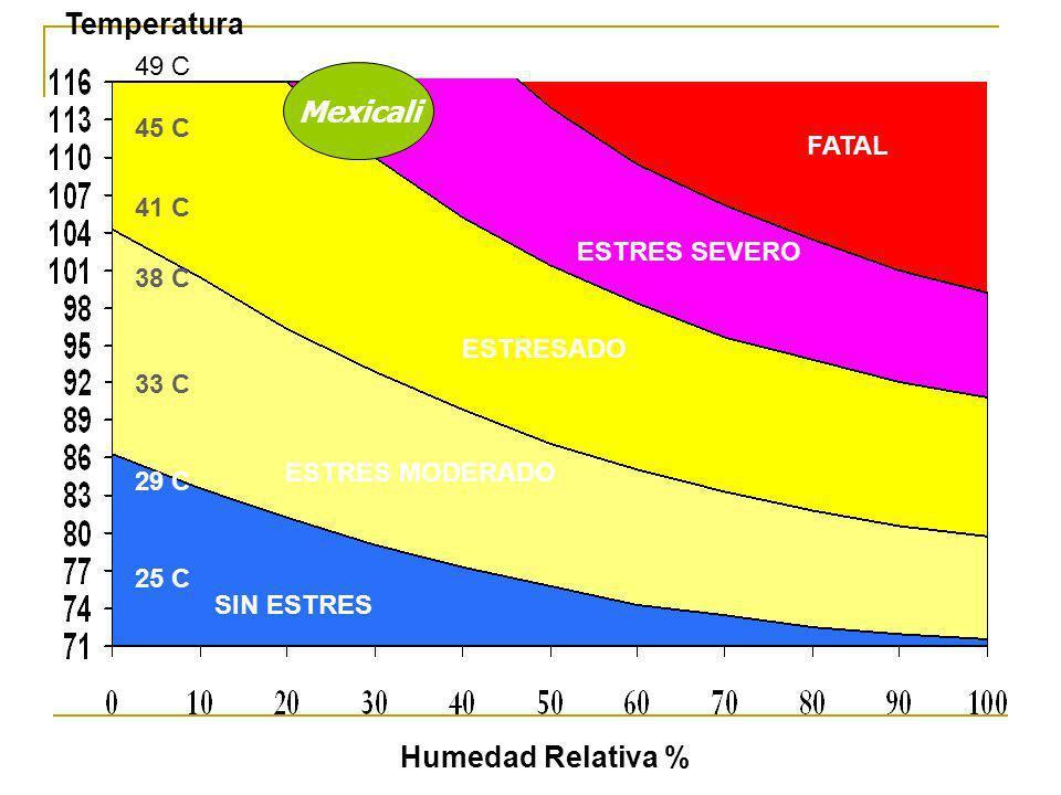 FATAL ESTRES SEVERO ESTRESADO ESTRES MODERADO SIN ESTRES Humedad Relativa % 25 C 41 C 45 C 33 C 29 C 38 C Temperatura Mexicali 49 C