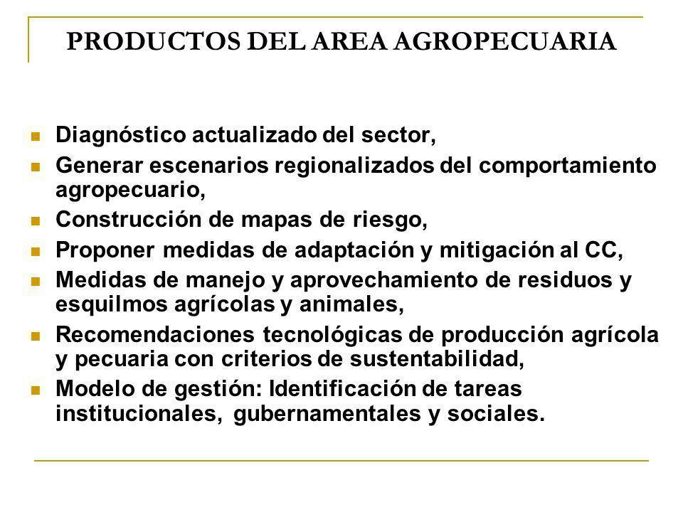 PRODUCTOS DEL AREA AGROPECUARIA Diagnóstico actualizado del sector, Generar escenarios regionalizados del comportamiento agropecuario, Construcción de
