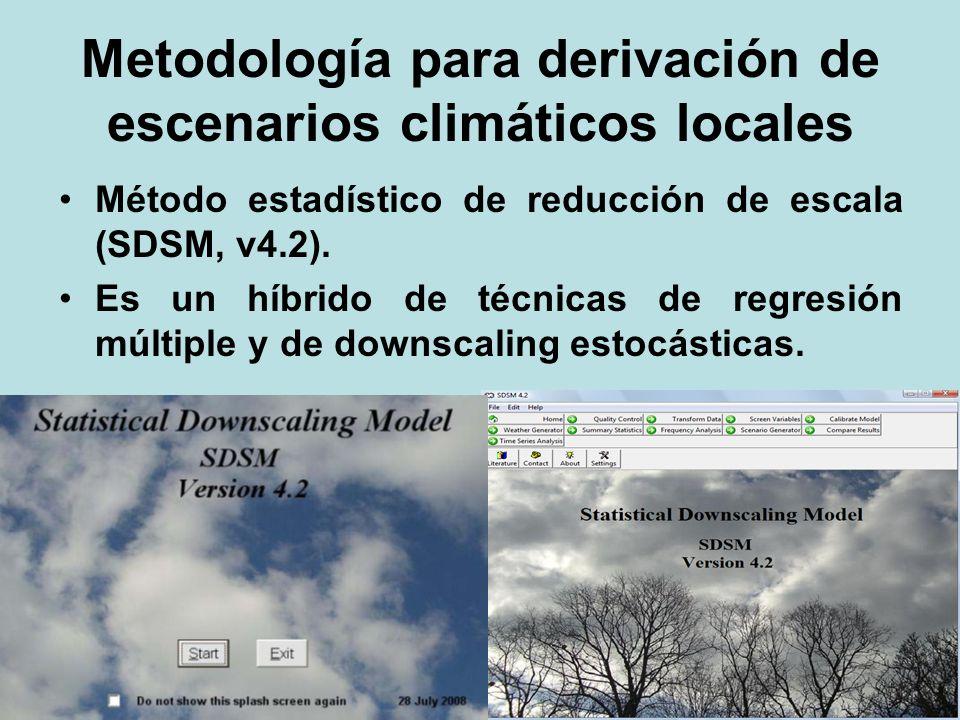 Metodología para derivación de escenarios climáticos locales Método estadístico de reducción de escala (SDSM, v4.2). Es un híbrido de técnicas de regr