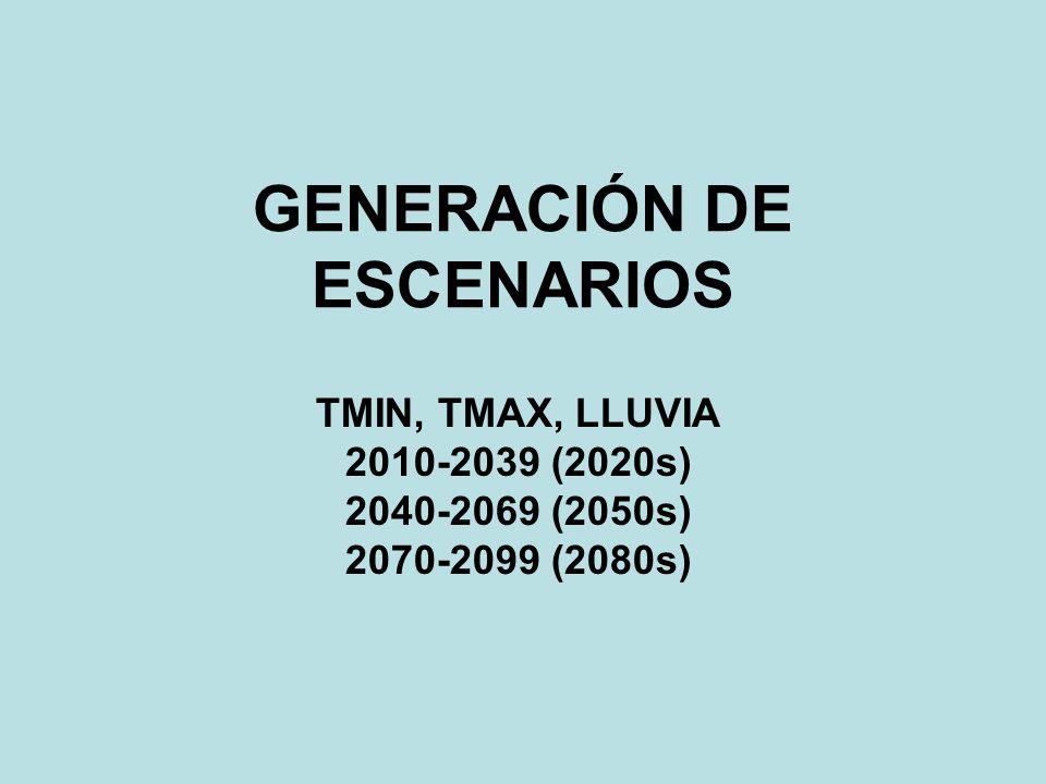 GENERACIÓN DE ESCENARIOS TMIN, TMAX, LLUVIA 2010-2039 (2020s) 2040-2069 (2050s) 2070-2099 (2080s)