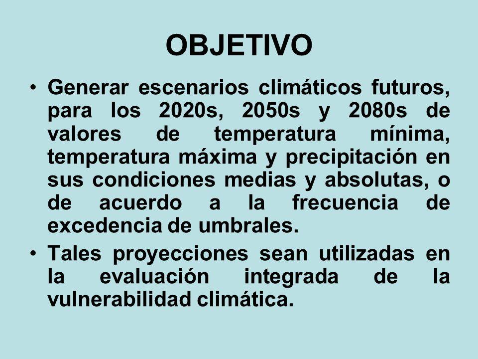 OBJETIVO Generar escenarios climáticos futuros, para los 2020s, 2050s y 2080s de valores de temperatura mínima, temperatura máxima y precipitación en