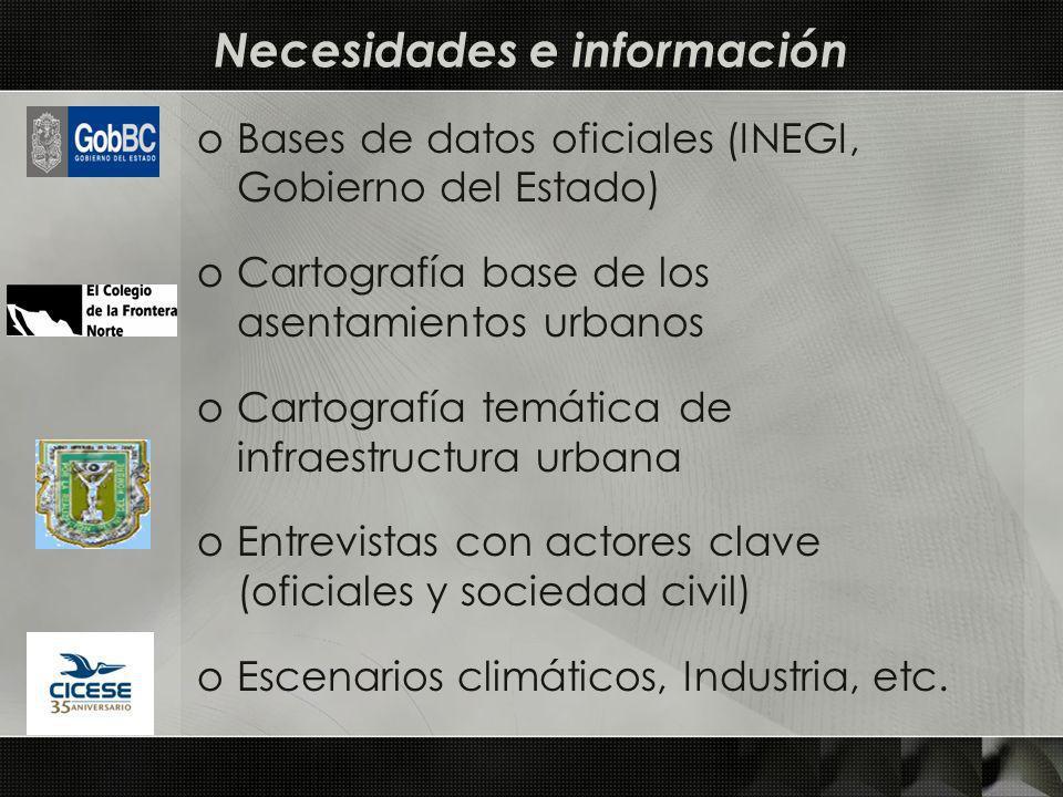 oBases de datos oficiales (INEGI, Gobierno del Estado) oCartografía base de los asentamientos urbanos oCartografía temática de infraestructura urbana