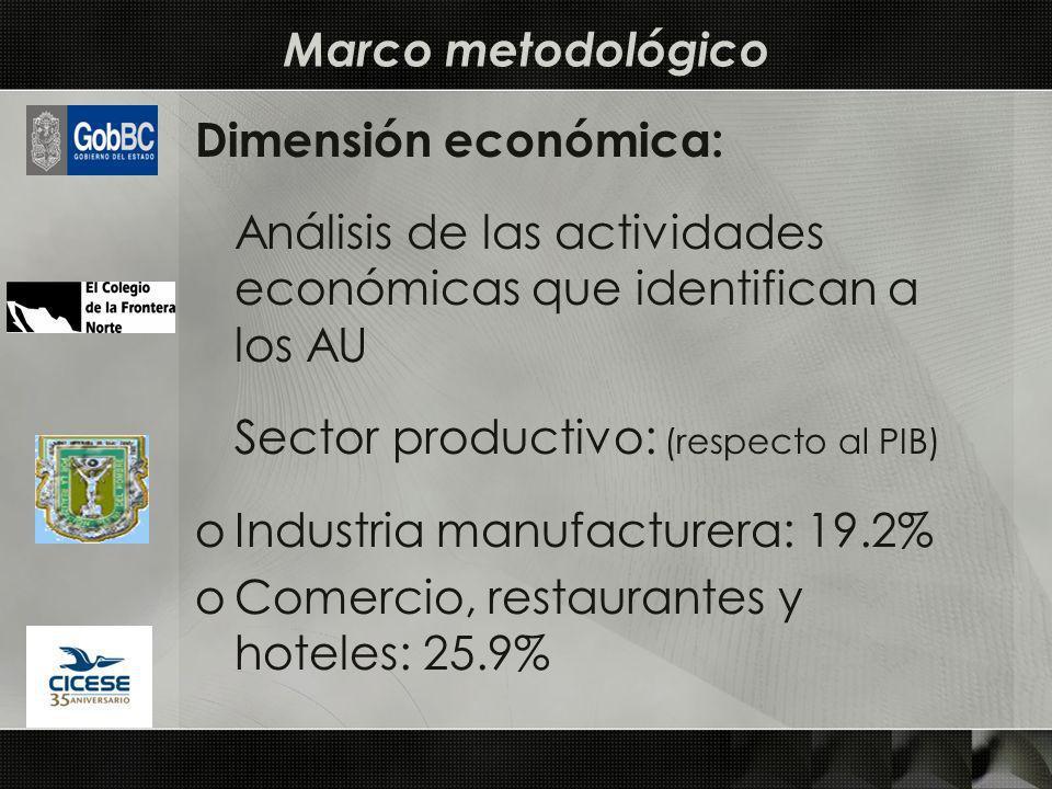 Dimensión económica: Análisis de las actividades económicas que identifican a los AU Sector productivo: (respecto al PIB) oIndustria manufacturera: 19