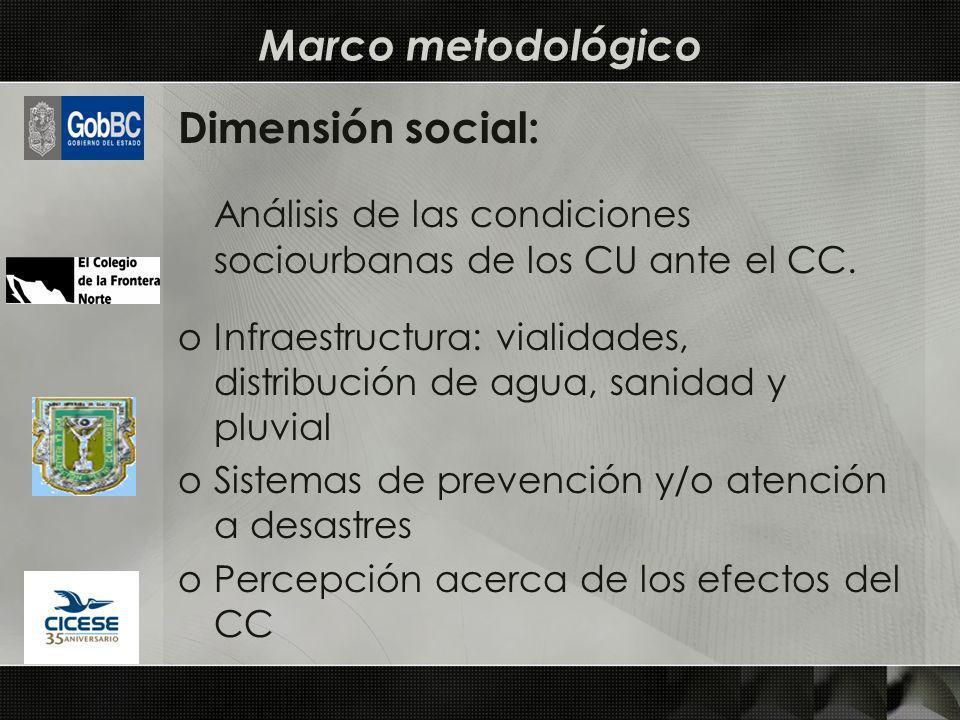 Dimensión social: Análisis de las condiciones sociourbanas de los CU ante el CC. oInfraestructura: vialidades, distribución de agua, sanidad y pluvial