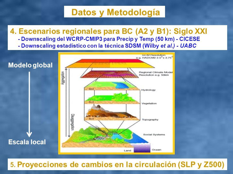 Datos y Metodología 4. Escenarios regionales para BC (A2 y B1): Siglo XXI - Downscaling del WCRP-CMIP3 para Precip y Temp (50 km) - CICESE - Downscali