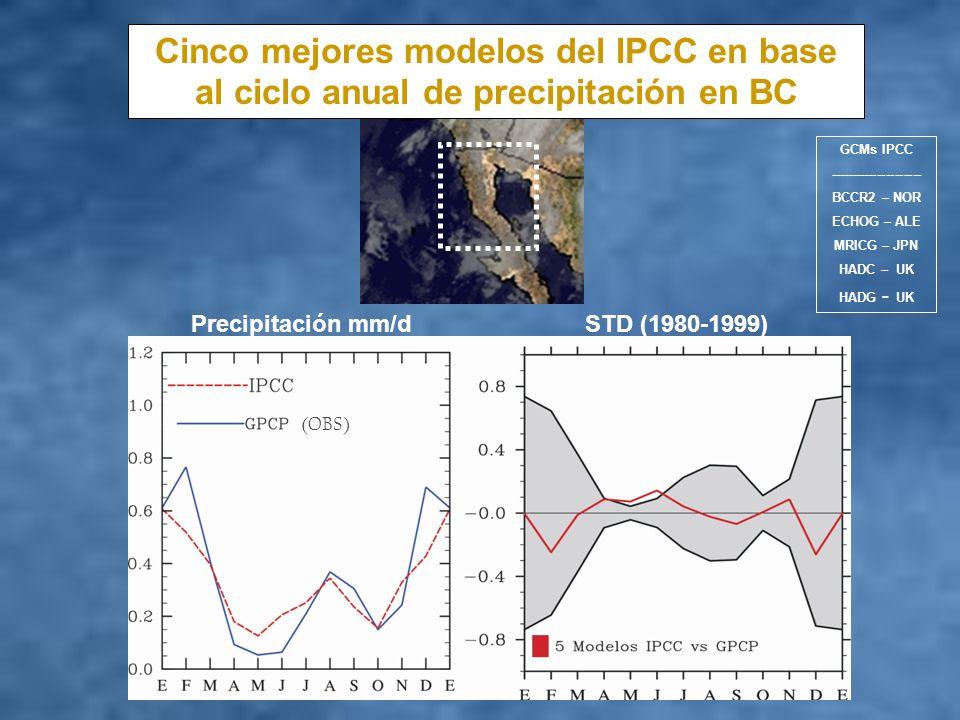 Cinco mejores modelos del IPCC en base al ciclo anual de precipitación en BC Precipitación mm/d STD (1980-1999) (OBS) GCMs IPCC ---------------------