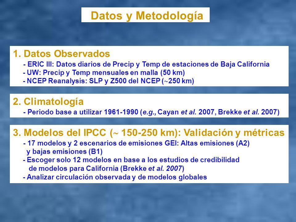 Datos y Metodología 1. Datos Observados - ERIC III: Datos diarios de Precip y Temp de estaciones de Baja California - UW: Precip y Temp mensuales en m
