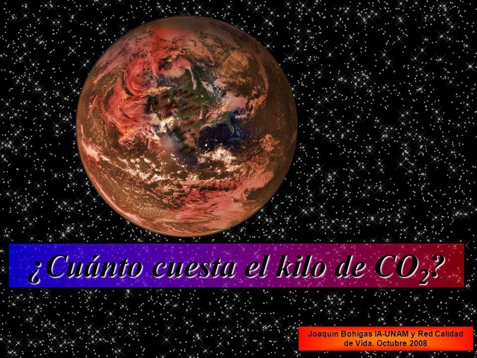 Joaquín Bohigas IA-UNAM y Red Calidad de Vida. Octubre 2008 ¿Cuánto cuesta el kilo de CO 2