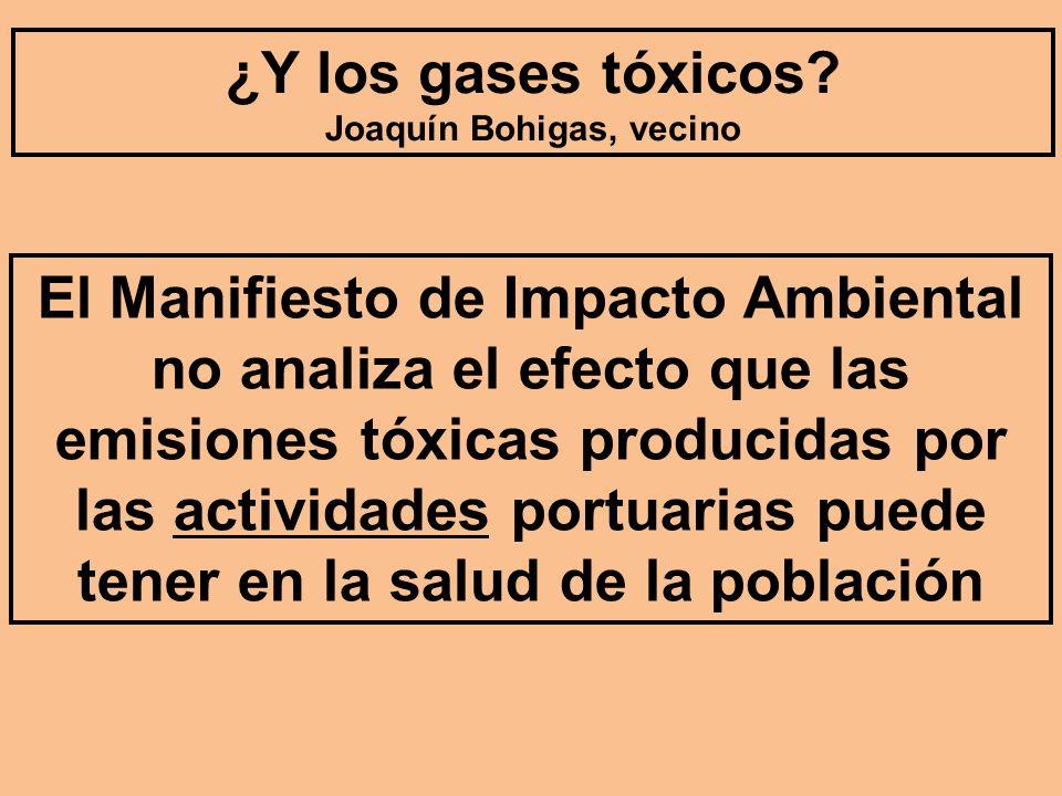 El Manifiesto de Impacto Ambiental no analiza el efecto que las emisiones tóxicas producidas por las actividades portuarias puede tener en la salud de la población ¿Y los gases tóxicos.