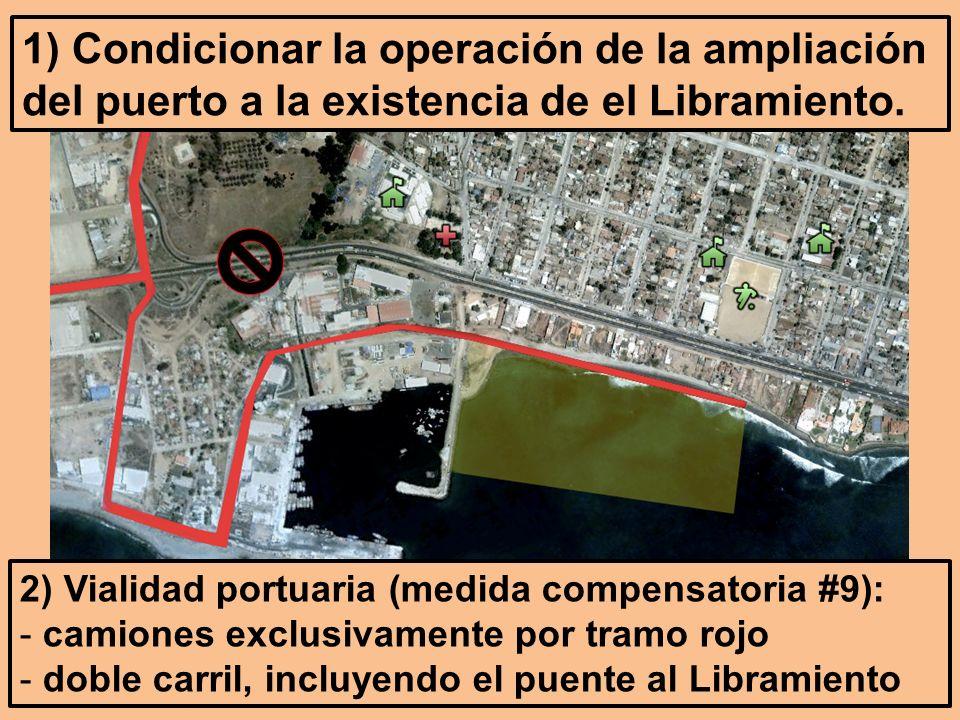 2) Vialidad portuaria (medida compensatoria #9): - camiones exclusivamente por tramo rojo - doble carril, incluyendo el puente al Libramiento 1) Condicionar la operación de la ampliación del puerto a la existencia de el Libramiento.