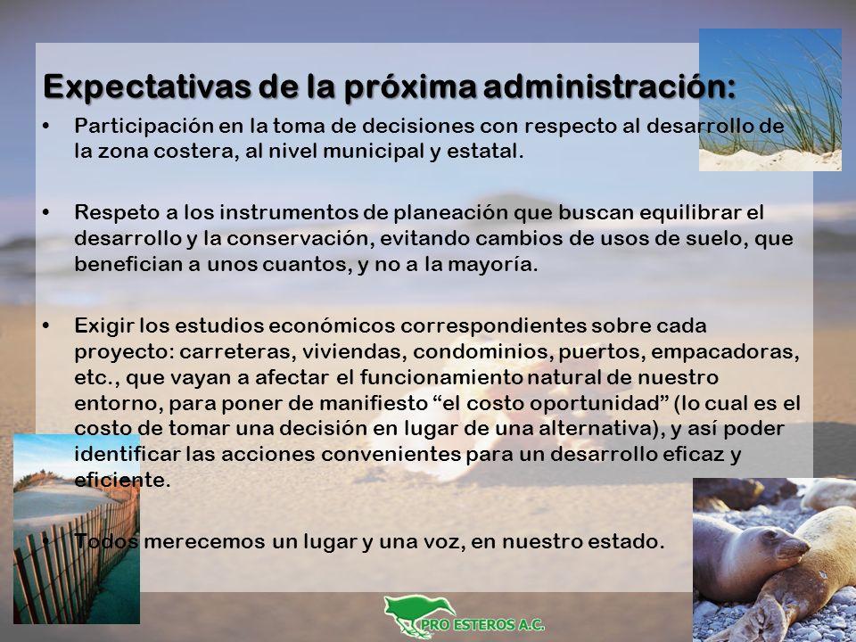 Expectativas de la próxima administración: Participación en la toma de decisiones con respecto al desarrollo de la zona costera, al nivel municipal y