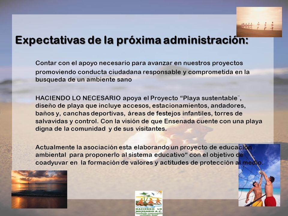 Expectativas de la próxima administración: Contar con el apoyo necesario para avanzar en nuestros proyectos promoviendo conducta ciudadana responsable