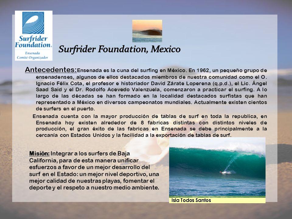 Antecedentes: Ensenada es la cuna del surfing en México. En 1962, un pequeño grupo de ensenadenses, algunos de ellos destacados miembros de nuestra co