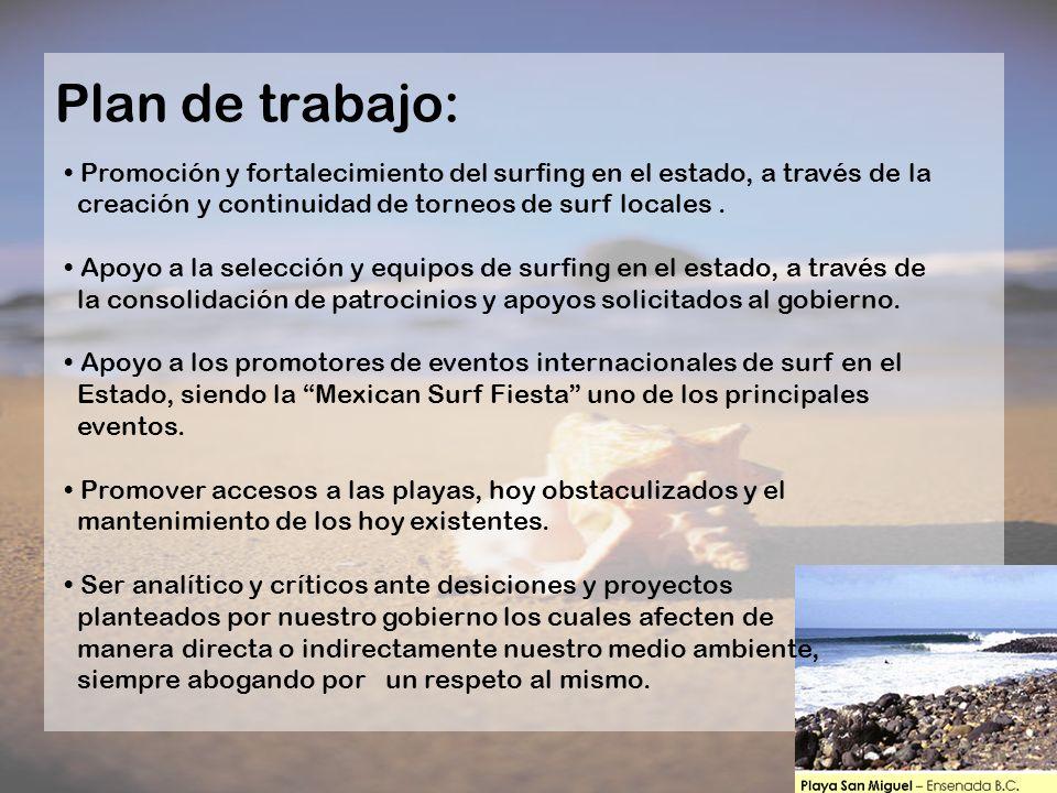 Plan de trabajo: Promoción y fortalecimiento del surfing en el estado, a través de la creación y continuidad de torneos de surf locales. Apoyo a la se