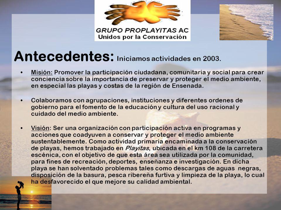 Misión: Promover la participación ciudadana, comunitaria y social para crear conciencia sobre la importancia de preservar y proteger el medio ambiente