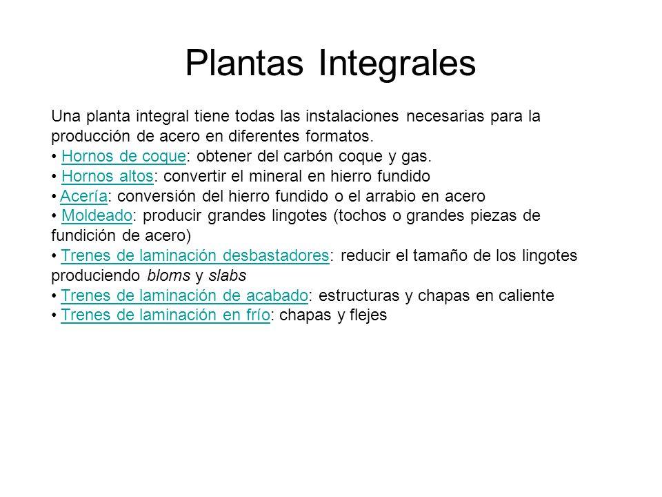 Plantas Integrales Una planta integral tiene todas las instalaciones necesarias para la producción de acero en diferentes formatos. Hornos de coque: o
